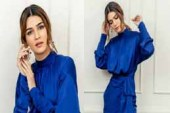 Kriti Sanon looks gorgeous in this blue satin dress