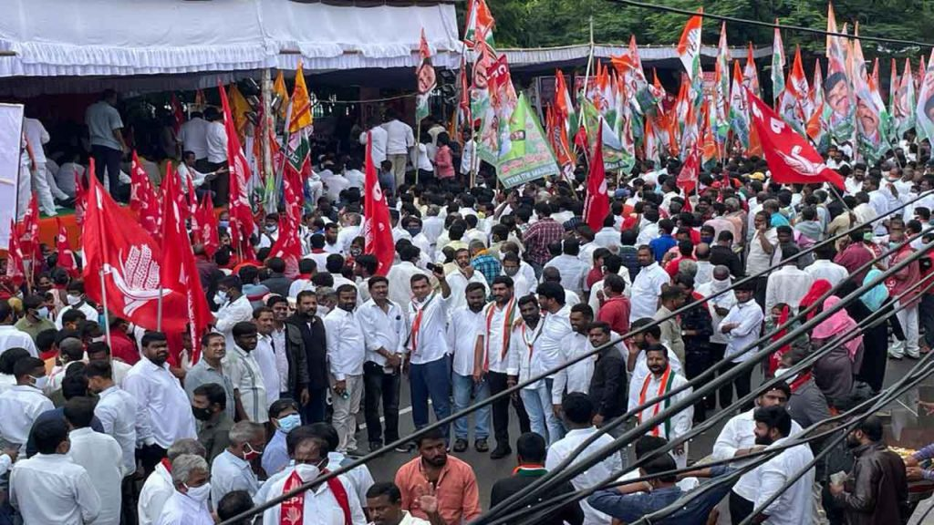Revanth leads all-party agitation against TRS, BJP Govt
